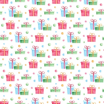Modèle sans couture avec des cadeaux colorés aquarelles et des confettis sur fond blanc.