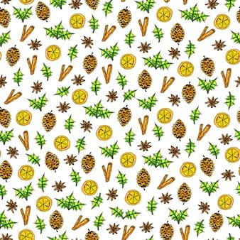 Modèle sans couture avec cannelle, étoiles d'anis, pomme de pin et orange sur fond blanc. éléments de noël aquarelle dessinés à la main