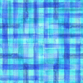 Modèle sans couture à carreaux vichy géométrique abstrait aquarelle. fond tendance aquarelle bleu et turquoise.