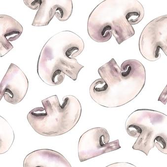 Modèle sans couture de champignon sur fond blanc
