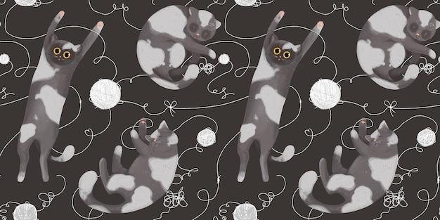 Modèle sans couture avec des chats drôles avec des pelotes de laine. dessin à la main en style cartoon. jouer et dormir des chats.