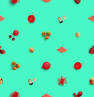 Modèle sans couture chinois. mise à plat des éléments chinois traditionnels sur la surface verte, illustration de rendu 3d.