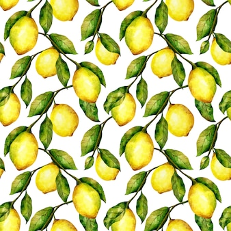 Modèle sans couture de citron répéter l'impression d'arbre d'agrumes à l'aquarelle citrons lumineux et feuilles sur blanc