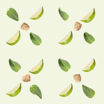 Modèle sans couture. citron vert, sucre et menthe sur fond blanc.