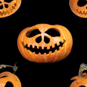 Modèle sans couture de citrouille d'halloween sans fin. contexte festif. pour la conception et l'impression. arrière-plan de la tête de jack. concept pour l'impression et la conception.