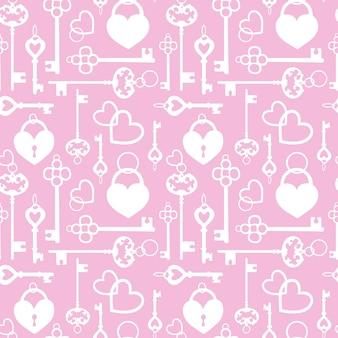 Modèle sans couture avec clés vintage et serrures en forme de coeur.