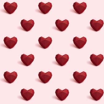 Modèle Sans Couture Avec Coeur De Papier Polygonale Rouge Foncé Sur Rose Photo Premium