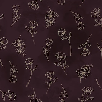 Modèle sans couture. contours dorés de fleurs et de feuilles printanières.
