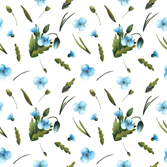Modèle sans couture de coquelicots bleus aquarelles et feuilles vertes isolés sur fond blanc. l'imprimé floral délicat est parfait pour les textiles, le papier d'emballage, la conception d'emballages.