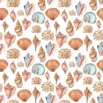 Modèle sans couture de coquillages aquarelle isolé sur fond blanc. texture dessinée à la main à partir de coquillages