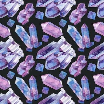 Modèle sans couture avec cristaux d'aquarelle