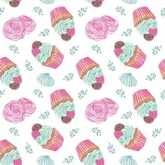 Modèle sans couture de cupcakes aquarelle, zéphyr, bonbons répétant l'arrière-plan, conception de modèle de bonbons