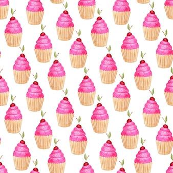 Modèle sans couture avec des cupcakes