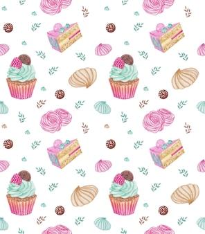 Modèle sans couture de desserts de bonbons aquarelle