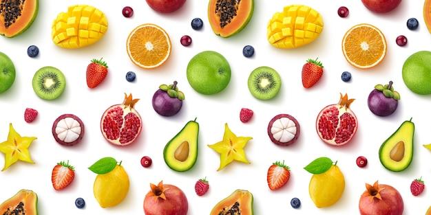 Modèle sans couture de différents fruits et baies, plat poser, vue de dessus