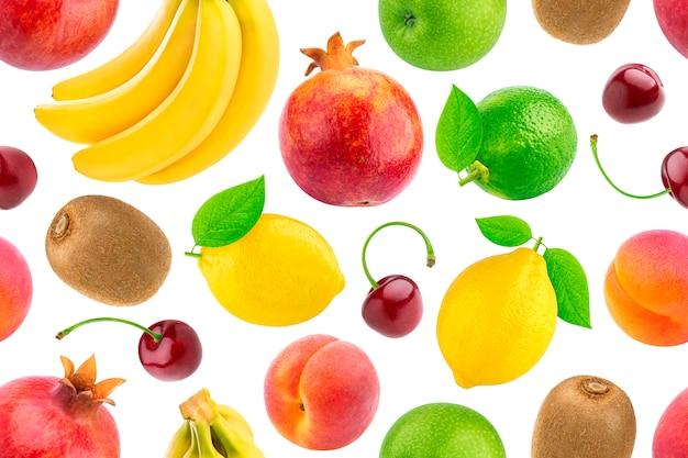 Modèle sans couture de différents fruits et baies