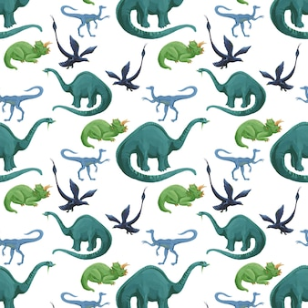 Modèle sans couture de dinosaures aquarelles de dessin animé. texture mignonne de dinosaures acryliques dessinés à la main.