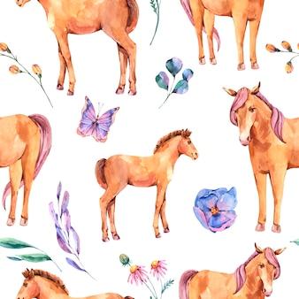 Modèle sans couture d'été aquarelle de cheval rouge et fleurs