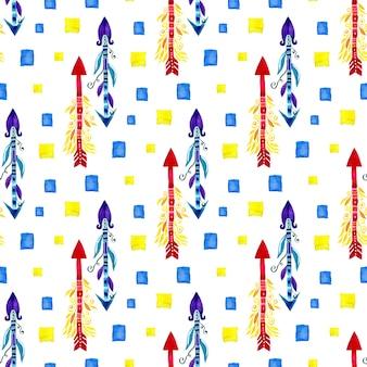 Modèle sans couture ethnique de flèches aquarelle. design textile
