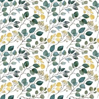 Modèle sans couture d'eucalyptus ensemencé à l'aquarelle. feuilles dorées et vertes. fond de branches de verdure.