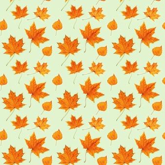 Modèle sans couture fait de feuilles d'automne sèches