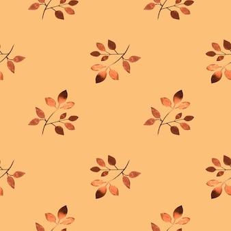 Modèle sans couture avec feuilles aquarelle marron