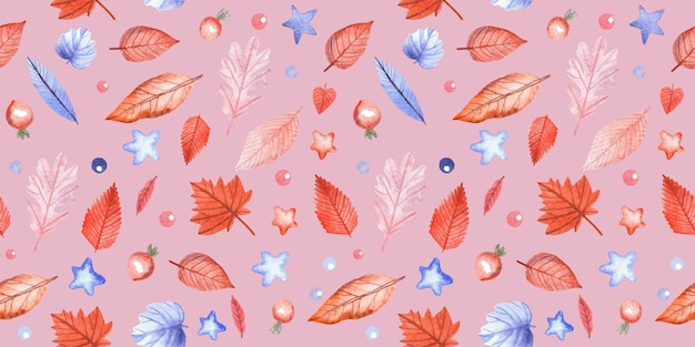 Modèle sans couture avec des feuilles d'automne et des baies d'églantier sur fond rose. illustration aquarelle peinte à la main.