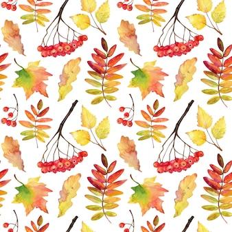 Modèle sans couture de feuilles d'automne tombées.