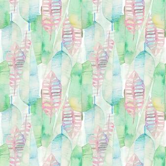 Modèle sans couture de feuilles de palmier tropical aquarelle. feuille de palmier vert et rose