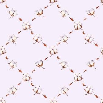 Modèle sans couture de fleurs de coton aquarelle sur une surface violet clair