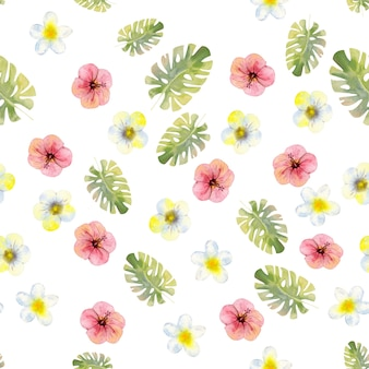 Modèle sans couture avec fleurs et feuilles tropicales aquarelles