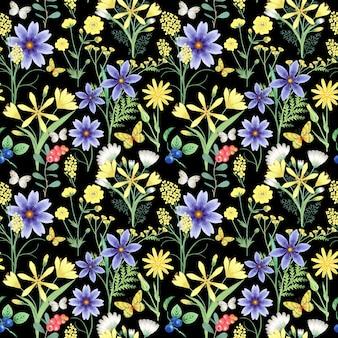 Modèle sans couture avec des fleurs sur fond noir.