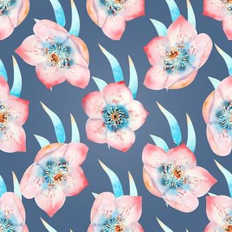 Modèle sans couture avec des fleurs d'hellébore roses, des bourgeons, des feuilles, des brindilles décoratives sur blanc isolé. illustration à l'aquarelle, faite à la main.