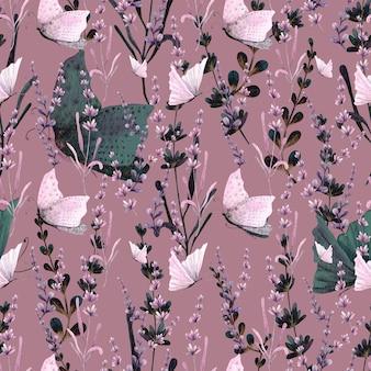 Modèle sans couture de fleurs papillon et lavande