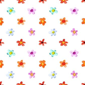 Modèle sans couture de fleurs de printemps aquarelle