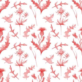 Modèle sans couture avec des fleurs de printemps et des feuilles de fleurs sauvages sur fond blanc isolé