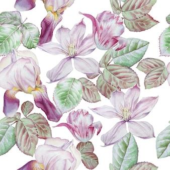 Modèle sans couture avec fleurs de printemps