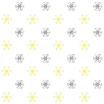 Modèle sans couture avec des flocons de neige jaunes et gris