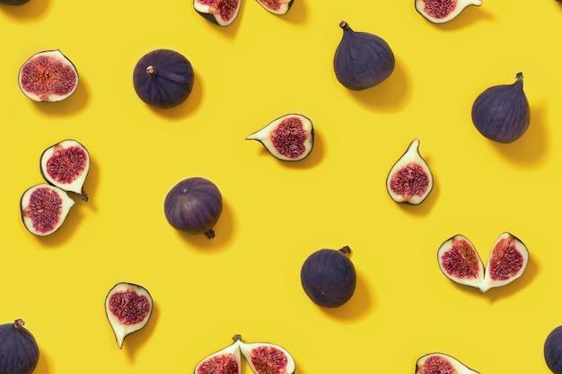 Modèle sans couture de fruits figues fraîches colorées, figue entière et tranchée