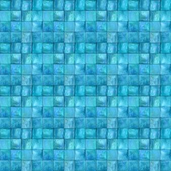 Modèle sans couture géométrique abstrait. illustrations aquarelles dessinées à la main turquoise bleu sarcelle multicolore avec de simples figures de formes de carrés texture mosaïque aquarelle. impression pour textile, papier peint, emballage