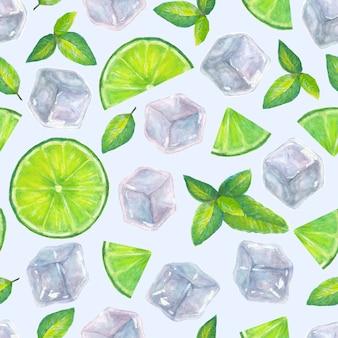 Modèle sans couture avec des glaçons à l'aquarelle dessinés à la main, des feuilles de menthe et des tranches de citron vert sur une surface bleu clair