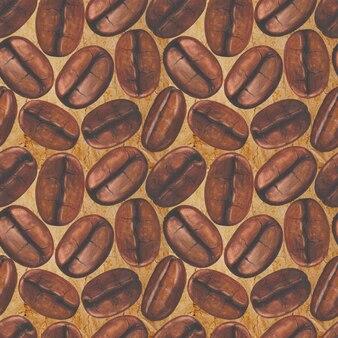 Modèle sans couture avec des grains de café peints à la main à l'aquarelle sur une vieille surface de papier