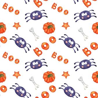 Modèle sans couture d'halloween aquarelle avec araignée de dessin animé, os, citrouille et texte