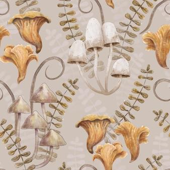 Modèle sans couture avec des herbes et des feuilles de champignons dessin à la main illustration aquarelle
