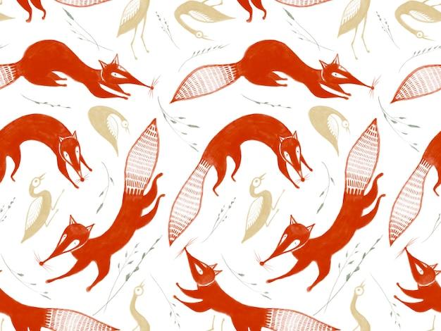 Modèle sans couture avec des herbes d'oiseaux d'or de renards rouges sautant stylisés isolés sur fond blanc
