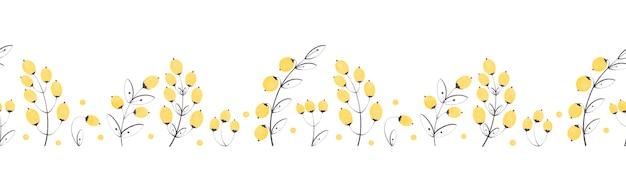 Modèle sans couture horizontale avec des baies jaunes de branche décorative isolés sur fond blanc
