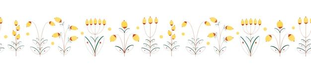 Modèle sans couture horizontale avec des baies jaunes de fleur de plante décorative isolés sur fond blanc