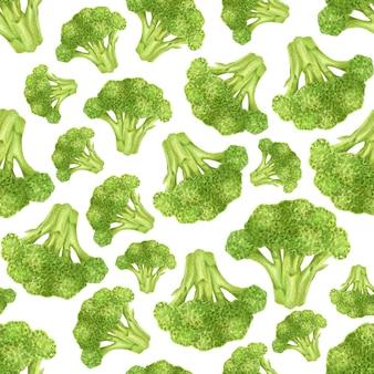 Modèle sans couture avec illustration aquarelle de brocoli