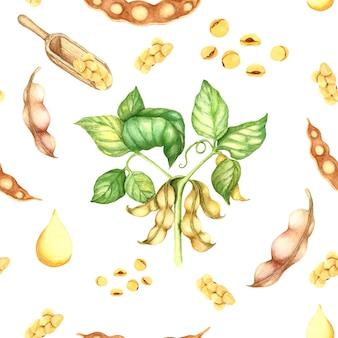 Modèle sans couture d'illustration aquarelle plante soja