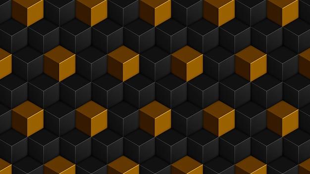 Modèle sans couture isométrique de cubes noirs dorés. fond de cubes de rendu 3d